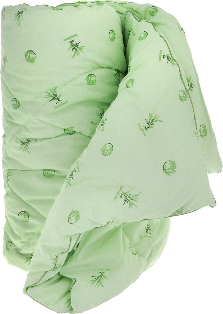 """Теплое одеяло Легкие сны """"Бамбук"""" с наполнителем из бамбукового волокна расслабит, снимет усталость и подарит вам спокойный и здоровый  сон.  Волокно бамбука - это натуральный материал, добываемый из стеблей растения. Он обладает способностью быстро впитывать и испарять влагу,  а также антибактериальными свойствами, что препятствует появлению пылевых клещей и болезнетворных бактерий. Изделия с наполнителем из  бамбука легко пропускают воздух, создавая охлаждающий эффект, поэтому им нет равных в жару. Они отличаются превосходными  дезодорирующими свойствами, мягкие, легкие, простые в уходе, гипоаллергенные и подходят абсолютно всем.  Чехол одеяла, выполненный из 100% хлопка, придает одеялу дополнительную прочность и износостойкость. При регулярном проветривании и  взбивании оно прослужит достаточно долго, сохраняя лучшие качества растительного наполнителя и создавая комфортные условия для отдыха.  Одеяло простегано и окантовано. Стежка надежно удерживает наполнитель внутри и не позволяет ему скатываться.  Можно стирать в стиральной машине при температуре 30°C.  Плотность наполнителя: 300 г/м2."""