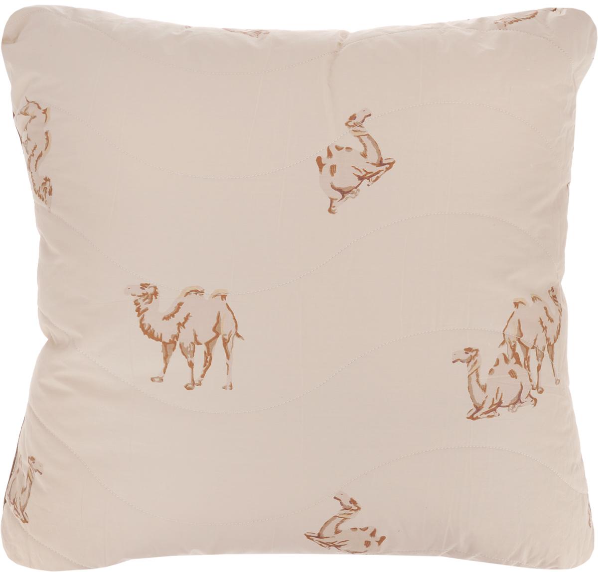 Подушка Легкие сны Верби, наполнитель: верблюжья шерсть, 68 х 68 см77(30)02-ВШПодушка Легкие сны Верби поможет расслабиться, снимет усталость и подарит вам спокойный и здоровый сон. Изделие обеспечит комфортную поддержку головы и шеи во время сна.Верблюжья шерсть является прекрасным изолятором и широко используется как наполнитель для постельных принадлежностей. Шерсть обладает отличными согревающими свойствами и способна быстро поглощать влагу, поэтому производимое верблюжьей шерстью целебное тепло называют сухим. Чехол подушки выполнен из прочного тика с рисунком в виде верблюдов. Это натуральная хлопчатобумажная ткань, отличающаяся высокой плотностью, она устойчива к проколам и разрывам, а также отличается долговечностью в использовании. Чехол приятен к телу и надежно удерживает наполнитель внутри подушки. По краю подушки выполнена отделка атласным кантом коричневого цвета. Рекомендуется химчистка. Степень поддержки: средняя.