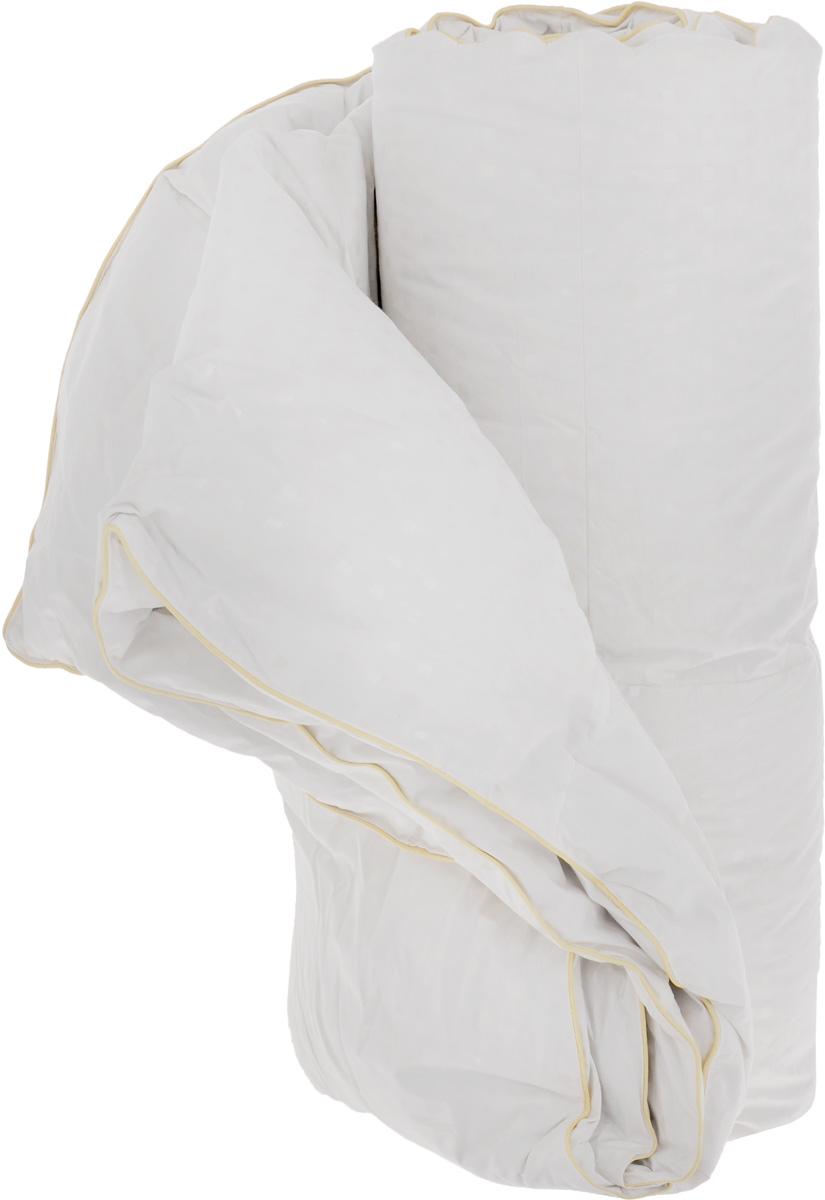 """Теплое двухспальное одеяло Легкие сны """"Афродита"""" поможет расслабиться, снимет усталость и подарит вам спокойный и здоровый сон.  Одеяло наполнено серым гусиным пухом категории """"Экстра"""", оно необычайно легкое, пышное, обладает превосходными теплозащитными свойствами. Кассетное распределение пуха способствует сохранению формы и воздушности изделия.  Чехол одеяла выполнен из прочного пуходержащего хлопкового тика с рисунком в виде мелких квадратов. Это натуральная хлопчатобумажная ткань, отличающаяся высокой плотностью, идеально подходит для пухо-перовых изделий, так как устойчива к проколам и разрывам, а также отличается долговечностью в использовании.  По краю одеяла выполнена отделка атласным кантом цвета шампань. Универсальный белый цвет идеально подойдет к любой расцветке постельного белья. Одеяло можно стирать в стиральной машине. Вес наполнителя 0,9 кг."""