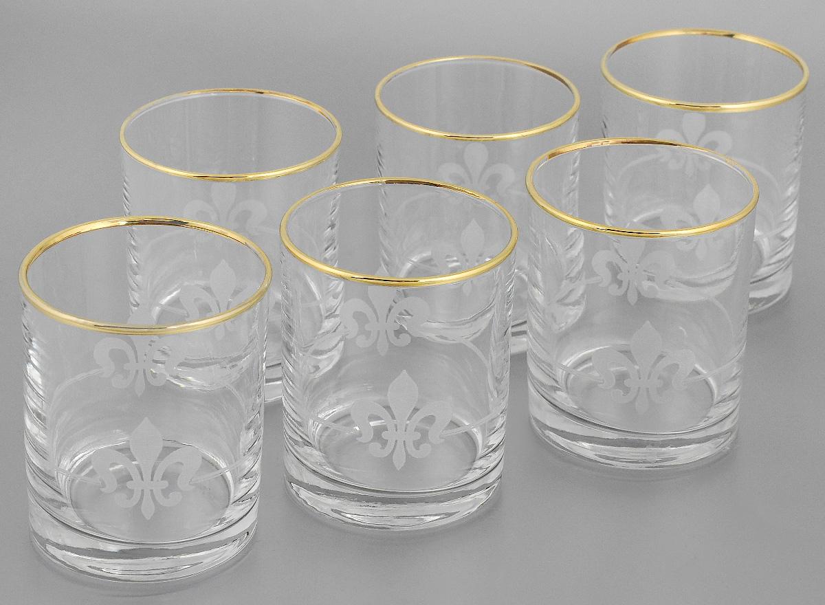 Набор стаканов для виски Гусь-Хрустальный Королевская лилия, 230 мл, 6 шт hustler кэтсьюит с узором королевская лилия