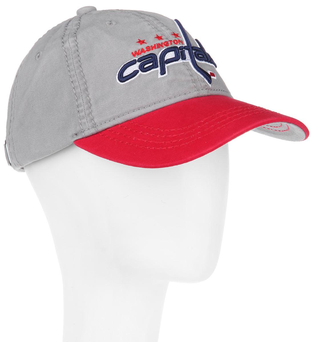 Бейсболка NHL Washington Capitals, цвет: серый, красный. 29058. Размер L\XL (55-58)29058Практичная и удобная бейсболка NHL Washington Capitals, выполненная из высококачественного хлопка, идеально подойдет для активного отдыха и обеспечит надежную защиту головы от солнца.Бейсболка дополнена широким твердым козырьком и оформлена вышивкой в виде эмблемы профессиональной хоккейной команды Washington Capitals, а также вышитыми надписями. Кепка имеет перфорацию, обеспечивающую необходимую вентиляцию. Объем изделия регулируется металлическим фиксатором. Такая бейсболка станет отличным аксессуаром для занятий спортом или дополнит ваш повседневный образ.
