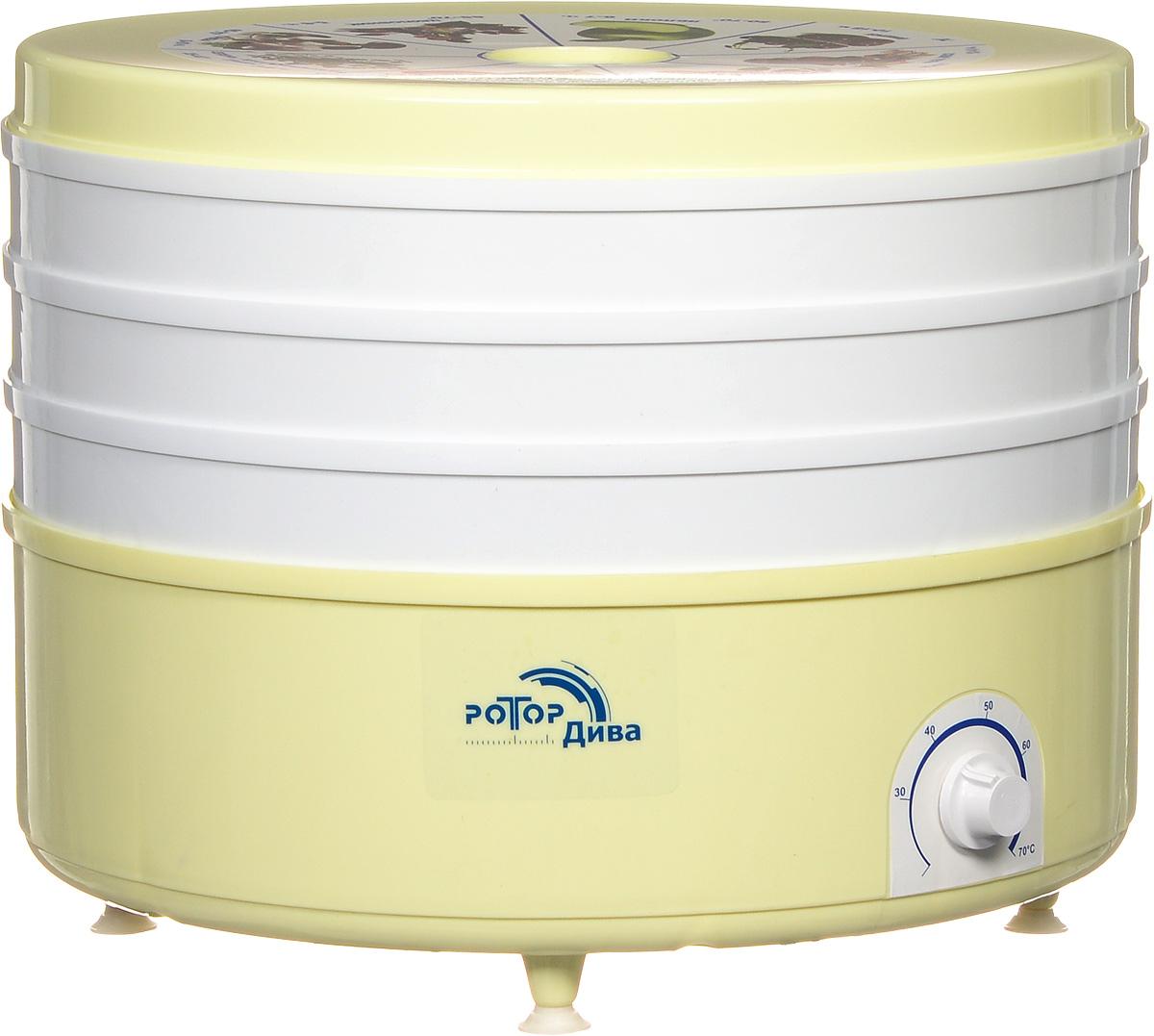 Дива СШ-007-05 сушилка для овощейСО Р3 5 *Электросушилка Дива СШ-007-05 предназначена для сушки овощей, фруктов, грибов, зелени, лечебных трав, мяса, рыбы, хлеба. Такая сушилка позволяет сохранить в продуктах 100% витаминов и питательных веществ на весь год. Сушка происходит путем равномерного обдува разогретым воздухом, таким образом сохраняются вкусовые качества продуктов. Дива СШ-007-05 оснащена встроенным вентилятором, что значительно ускоряет процесс сушки, защитой от перегрева и терморегулятором.