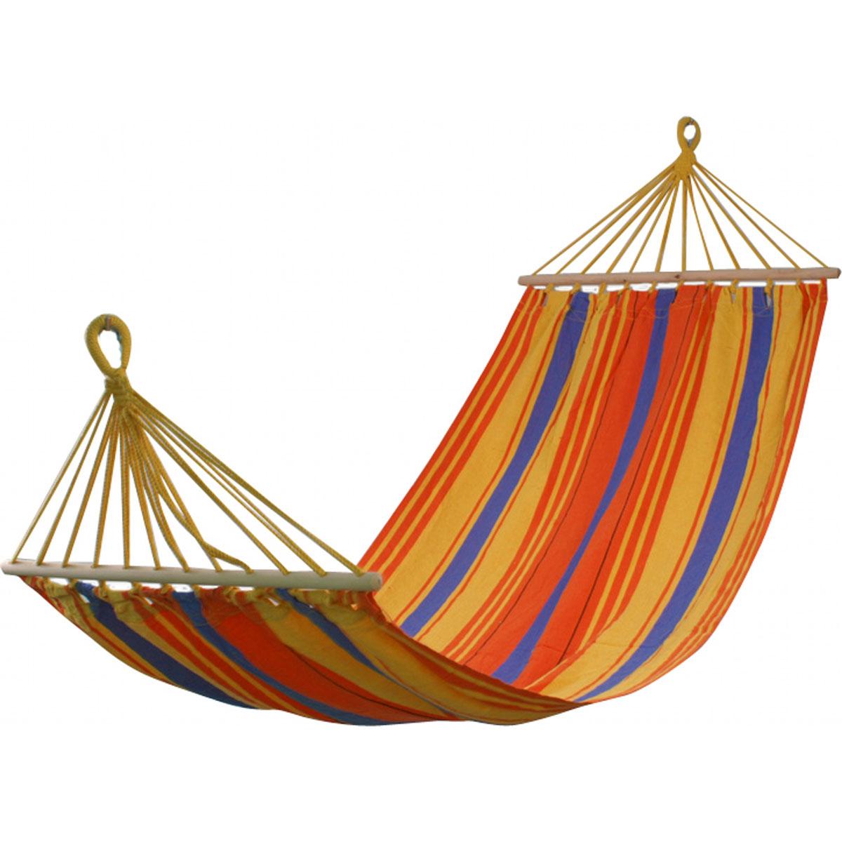 Гамак Wildman Бора-Бора, 100 х 200 см81-173Прочный гамак Wildman Бора-Бора, изготовленный из высококачественного хлопка иполиэстера, внесет дополнительный комфорт в ваш отдых на даче, в походе или на пикнике.Изделие оснащено деревянным каркасом.Гамак - это место для отдыха, кровать, парящаянад землей, ему всегда будут рады и на приусадебном участке, и в доме, и в квартире. Гамакиспособны сделать уютным и удобным любой летний отдых. Поход в лес - и качественный гамакстанет местом для сна. Поездка за город - и он превратится в личный уголок, где можнополежать с книжкой, подремать, скрыться от суеты и солнца.