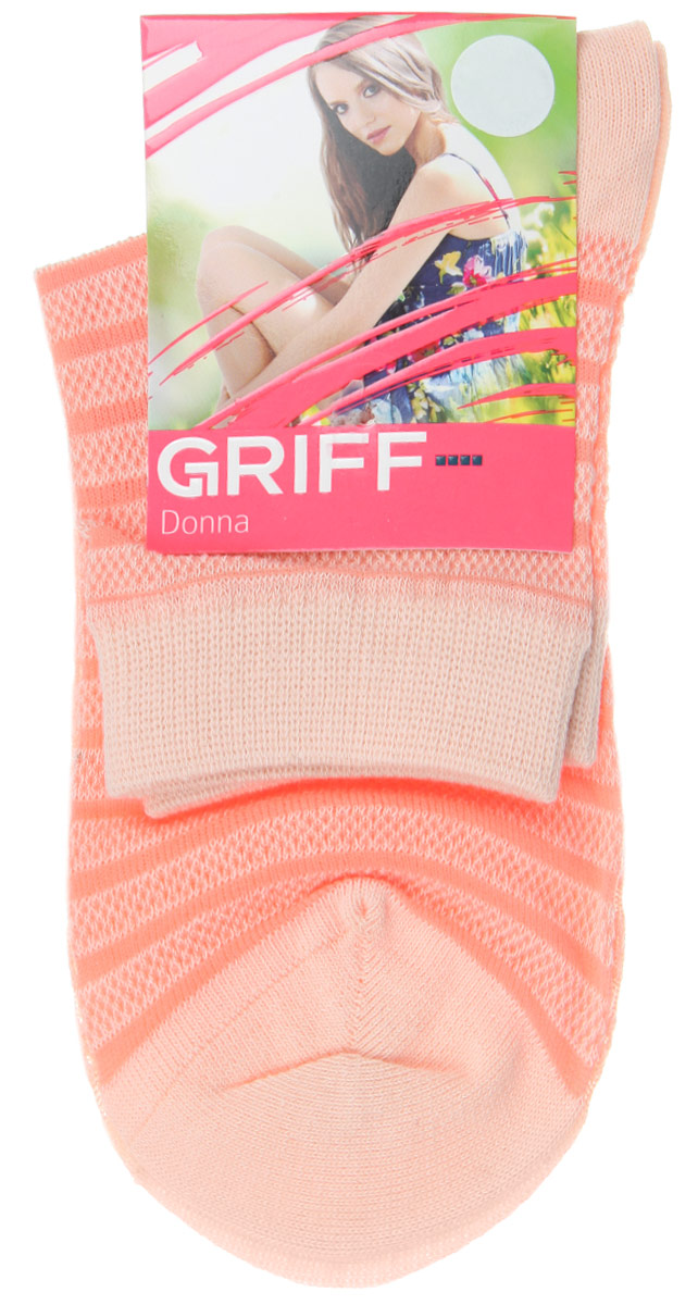 Носки женские Griff Полосы, цвет: оранжевый. D4O2. Размер 39/41