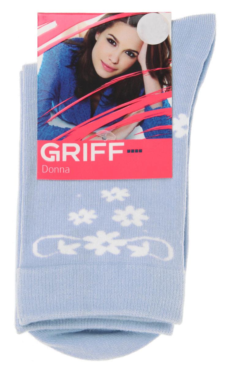 Носки женские Griff Цветочки, цвет: голубой. D264. Размер 35/38D264Женские носки Griff Цветочки изготовлены из высококачественного сырья. Носки очень мягкие на ощупь, а широкая резинка плотно облегает ногу, не сдавливая ее, благодаря чему вам будет комфортно и удобно. Усиленная пятка и мысок обеспечивают надежность и долговечность.Носки оформлены оригинальным принтом.