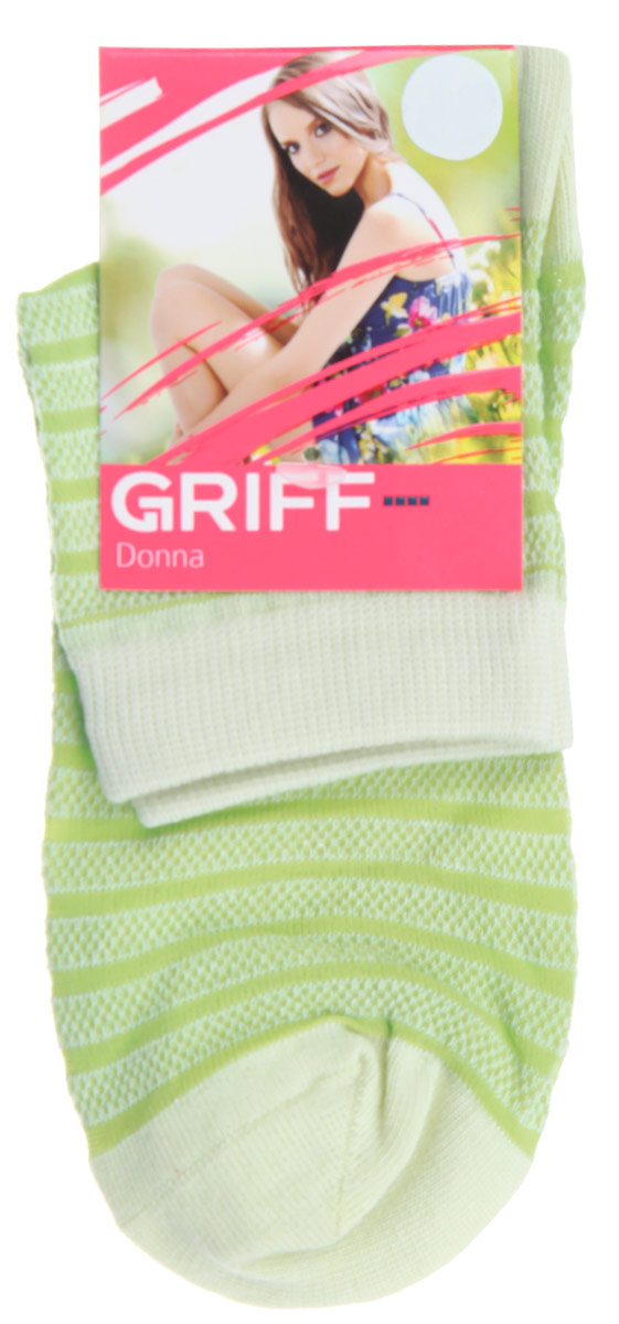 Носки женские Griff Полосы, цвет: зеленый. D4O2. Размер 39/41