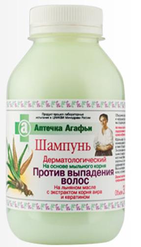 Аптечка Агафьи шампунь Против выпадения волос 300 мл071-5-3907Aктивные компоненты, входящие в состав шампуня, обеспечивают оздоровление луковицы волоса, стимулируют ее усиленное кровоснабжение, повышают тонус кожи. Корень аира – традиционное средство, применяемое при начинающемся облысении. Содержит большое количество витамина С, а также обладает выраженным антимикробным действием. Линоленовая ненасыщенная жирная кислота, входящая в состав льняного масла – природный эликсир молодости. Она улучшает клеточный обмен, укрепляет барьерную функцию кожи. Кератин – эластичный, прочный белок, входящий в состав волос и ногтей, удерживает влагу, препятствует обезвоживанию кожи головы и волос. Мыльный корень – это естественная, более щадящая основа для мытья волос, в отличие от используемой в обычных шампунях.Дерматологический шампунь рекомендуется как профилактическое средство против выпадения волос.Продукт прошел лабораторные испытания в ЦНИКВИ Минздрава России.