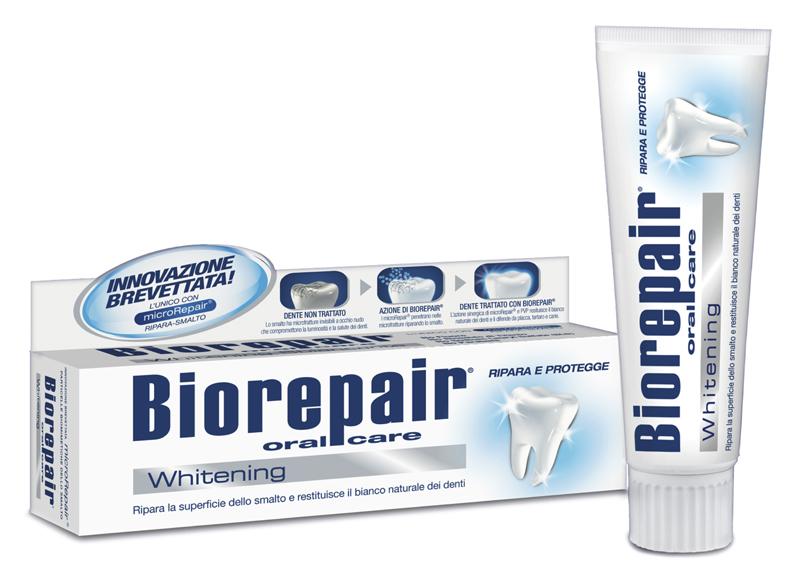 Biorepair Pro White Отбеливающая зубная паста, 75 млGA1136200, GA11362Biorepair ® Whitening просто и естественно защищает зубы от кариеса, зубного налета и зубного камня! идеально подходит после процедуры профессионального отбеливания, снимает чувствительность, на долго продлевает эффект отбеливания благодаря PVP полимерам.