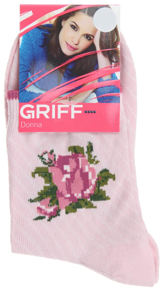 Носки женские Griff Цветок, цвет: бледно-розовый. D252. Размер 35/38D252Женские носки Griff Цветок изготовлены из высококачественного сырья. Носки очень мягкие на ощупь, а широкая резинка плотно облегает ногу, не сдавливая ее, благодаря чему вам будет комфортно и удобно. Усиленная пятка и мысок обеспечивают надежность и долговечность.Носки на паголенке оформлены рисунком в виде розы.