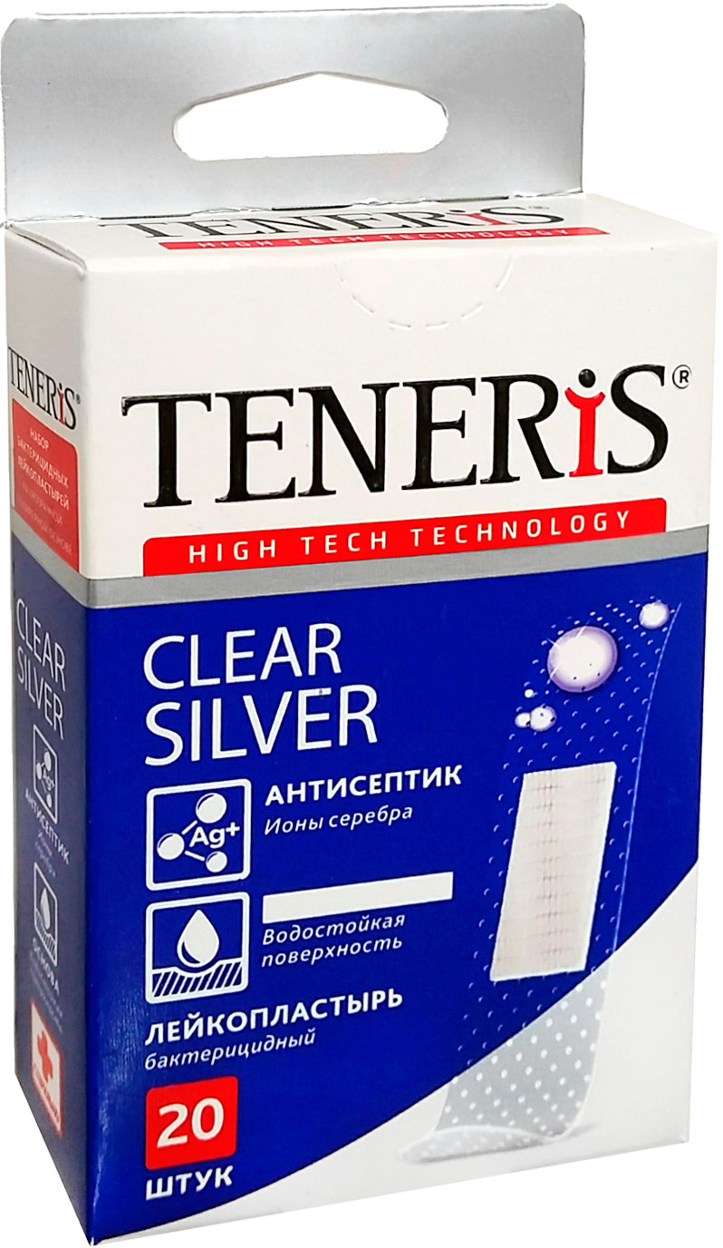 Набор лейкопластырей Тенерис Клиа Силвер бактерицидных: 20 шт, 76 мм х 19 мм