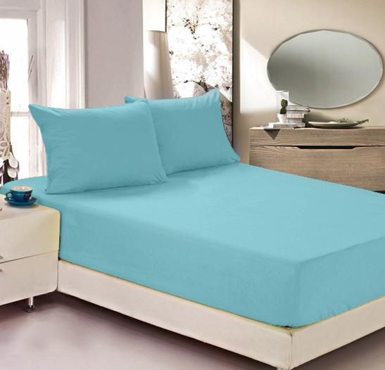 Простыня на резинке Легкие сны Color Way, трикотаж, цвет: бирюзовый, 120 x 200 см простыни легкие сны простыня на резинке color way цвет меланж 120х200 см