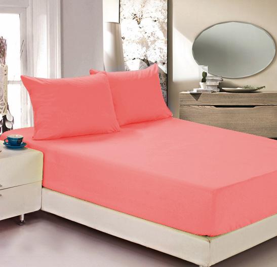 """Простыня на резинке Легкие сны """"Color Way"""", трикотаж, цвет: коралловый, 120 x 200 см"""