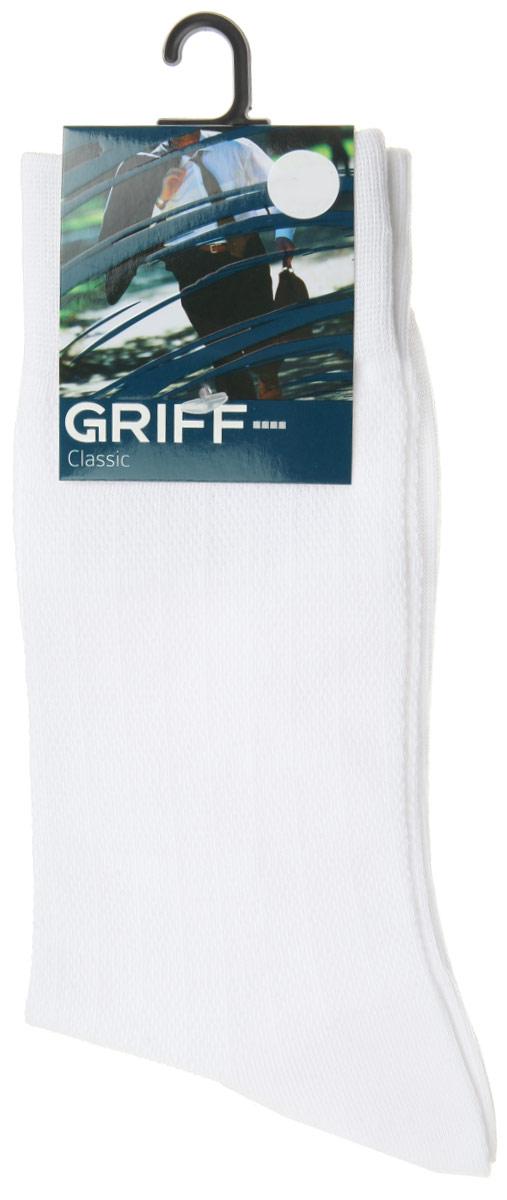 Носки мужские Griff Classic, цвет: белый. A21. Размер 42/44A21Мужские носки Griff Classic, вывязанные техникой платировки, изготовлены из высококачественного сырья с добавлением полиамидных волокон, которые обеспечивают великолепную посадку. Носки отличаются элегантным внешним видом. Удобная широкая резинка идеально облегает ногу и не пережимает сосуды, усиленные пятка и мысок повышают износоустойчивость носка, а удлиненный паголенок придает более эстетичный вид.