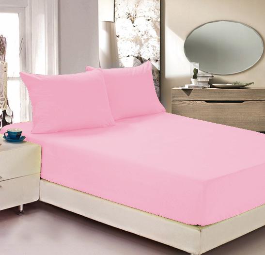 """Простыня на резинке Легкие сны """"Color Way"""", трикотаж, цвет: розовый, 200 x 200 см"""