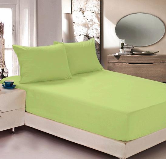 Простыня на резинке Легкие сны Color Way, трикотаж, цвет: светло-салатовый, 200 x 200 см простыни легкие сны простыня на резинке color way цвет меланж 120х200 см