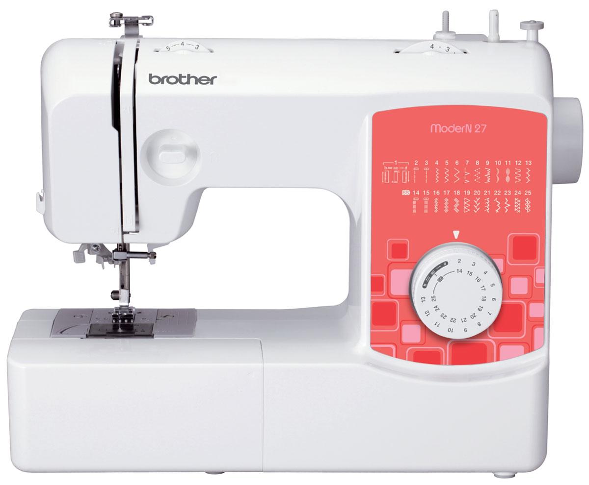 Brother ModerN 27 швейная машинаModerN27Швейная машина Brother ModerN 27 - это минимум трат электроэнергии при впечатляющем функционале. Забудьте о пришивании пуговиц вручную: установите лапку для пришивания пуговиц, и Brother ModerN 27 самостоятельно наметает их на вашу одежду. С лапкой для вшивания молнии вы самостоятельно сможете быстро и аккуратно заменить сломавшуюся застежку на новую.С электронным стабилизатором усилия прокола рабочая игла этой швейной машины прострочит даже самую плотную ткань. Отрегулируйте скорость шитья плавно, сильнее или слабее нажимая на ножную педаль.Ножницы, пуговицы и нитки можно хранить в специальном отсеке, встроенном в корпус.