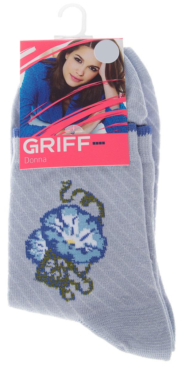 Носки женские Griff Цветок, цвет: светло-голубой. D252. Размер 39/41D252Женские носки Griff Цветок изготовлены из высококачественного сырья. Носки очень мягкие на ощупь, а широкая резинка плотно облегает ногу, не сдавливая ее, благодаря чему вам будет комфортно и удобно. Усиленная пятка и мысок обеспечивают надежность и долговечность.Носки на паголенке оформлены рисунком в виде розы.