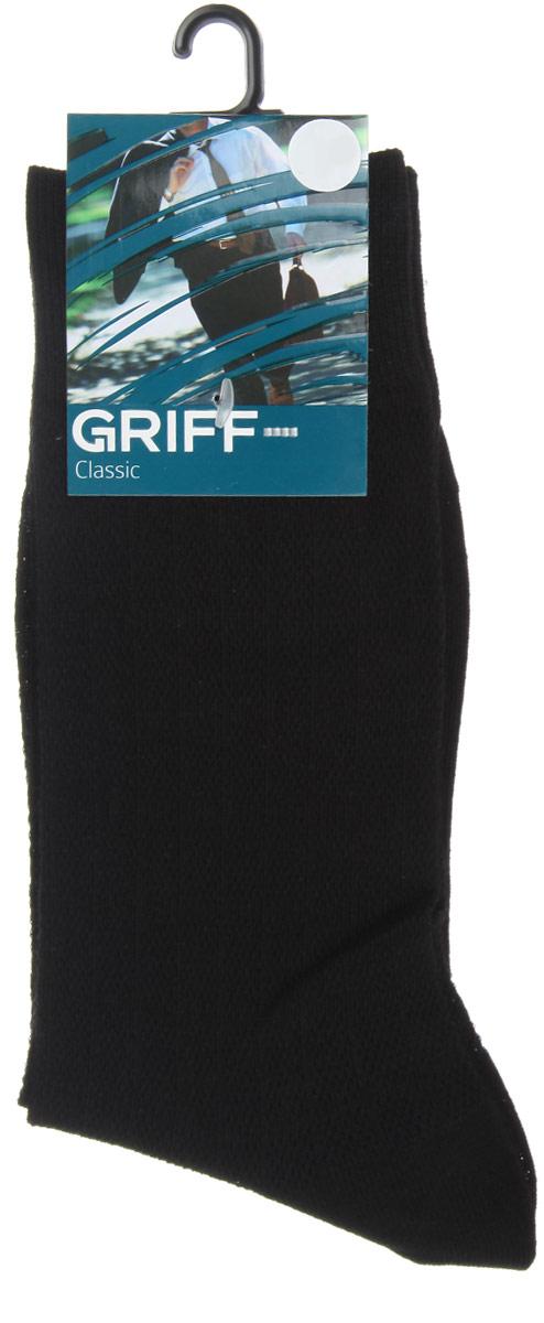 Носки мужские Griff Classic, цвет: черный. A21. Размер 42/44A21Мужские носки Griff Classic, вывязанные техникой платировки, изготовлены из высококачественного сырья с добавлением полиамидных волокон, которые обеспечивают великолепную посадку. Носки отличаются элегантным внешним видом. Удобная широкая резинка идеально облегает ногу и не пережимает сосуды, усиленные пятка и мысок повышают износоустойчивость носка, а удлиненный паголенок придает более эстетичный вид.
