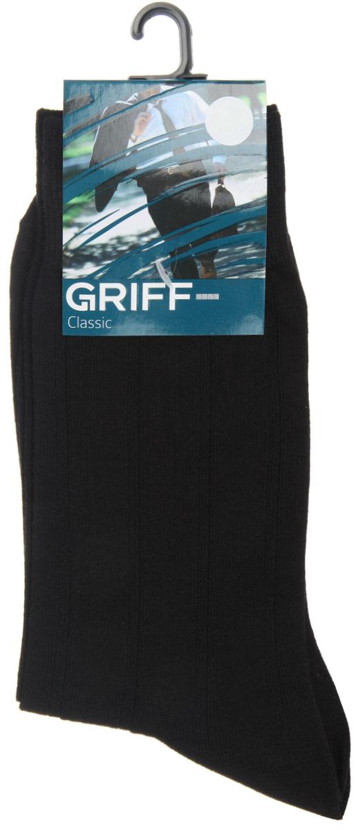 Носки мужские Griff Classic, цвет: черный. A41. Размер 39/41A41Мужские носки Griff Classic, вывязанные техникой платировки, изготовлены из высококачественного сырья с добавлением полиамидных волокон, которые обеспечивают великолепную посадку. Носки отличаются элегантным внешним видом. Удобная широкая резинка идеально облегает ногу и не пережимает сосуды, усиленные пятка и мысок повышают износоустойчивость носка, а удлиненный паголенок придает более эстетичный вид.