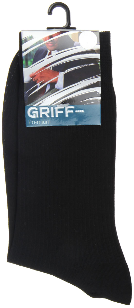 Носки мужские Griff Premium, цвет: черный. E4. Размер 45/47E4Мужские носки Griff Premium изготовлены из высококачественного сырья с добавлением полиамидных волокон, которые обеспечивают великолепную посадку. Носки отличаются элегантным внешним видом. Удобная широкая резинка идеально облегает ногу и не пережимает сосуды, усиленные пятка и мысок повышают износоустойчивость носка, а удлиненный паголенок придает более эстетичный вид.