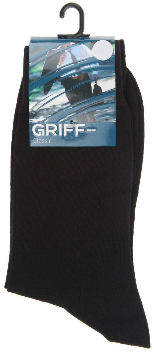 Носки мужские Griff Classic, цвет: черный. A5. Размер 42/44A5Мужские носки Griff Classic изготовлены из высококачественного сырья с добавлением полиамидных волокон, которые обеспечивают великолепную посадку. Носки отличаются элегантным внешним видом. Удобная широкая резинка идеально облегает ногу и не пережимает сосуды, усиленные пятка и мысок повышают износоустойчивость носка, а удлиненный паголенок придает более эстетичный вид.