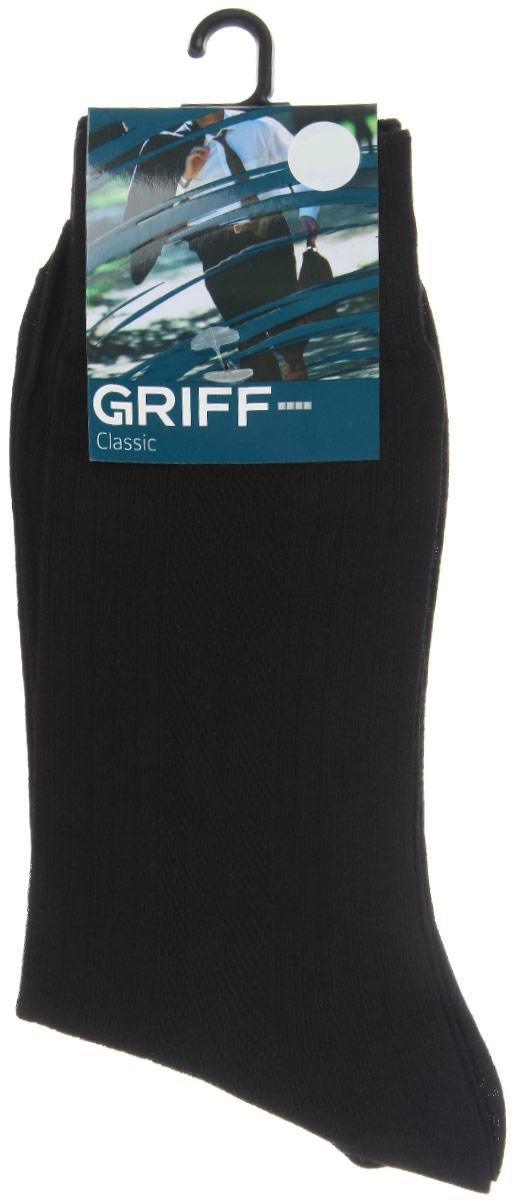 Носки мужские Griff Classic, цвет: черный. A42. Размер 45/47A42Мужские носки Griff Classic изготовлены из высококачественного сырья с добавлением полиамидных волокон, которые обеспечивают великолепную посадку. Носки отличаются элегантным внешним видом. Удобная широкая резинка идеально облегает ногу и не пережимает сосуды, усиленные пятка и мысок повышают износоустойчивость носка, а удлиненный паголенок придает более эстетичный вид.