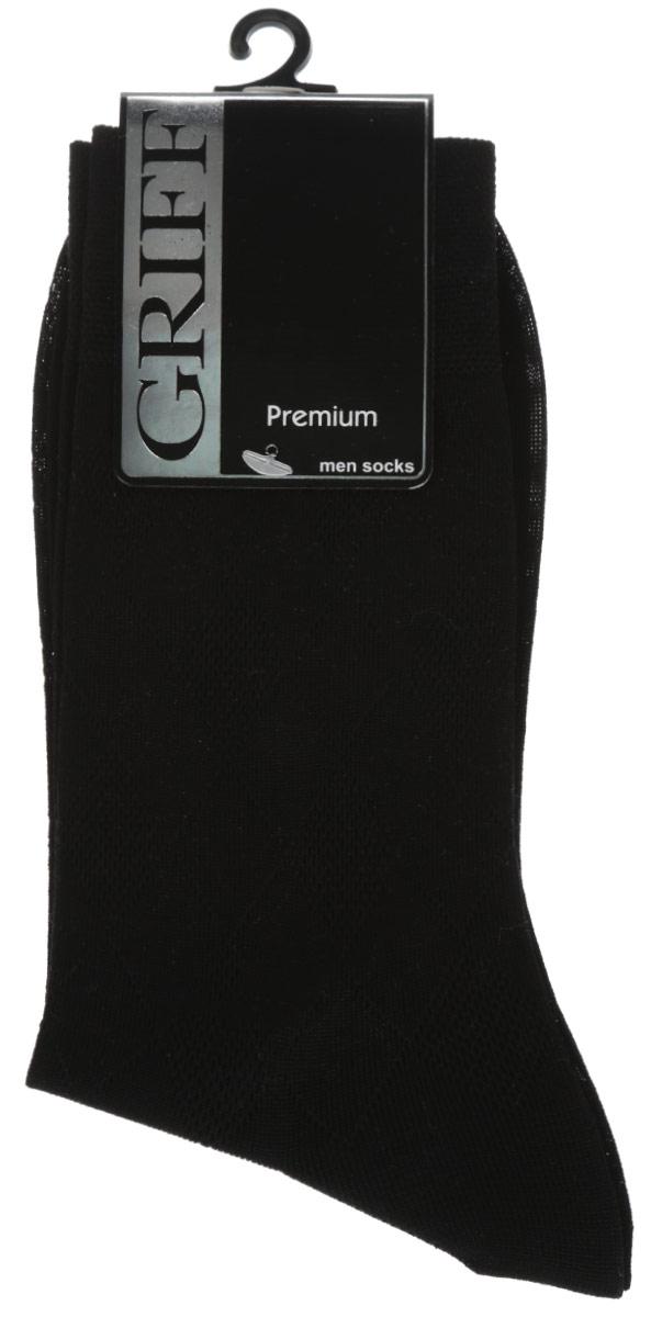 Носки мужские Griff Premium, цвет: черный. E5. Размер 39/41E5Мужские носки Griff Premium изготовлены из мерсеризованого хлопка с добавлением полиамидных волокон, которые обеспечивают великолепную посадку. Носки с орнаментом отличаются элегантным внешним видом. Удобная широкая резинка идеально облегает ногу и не пережимает сосуды, усиленные пятка и мысок повышают износоустойчивость носка, а удлиненный паголенок придает более эстетичный вид.