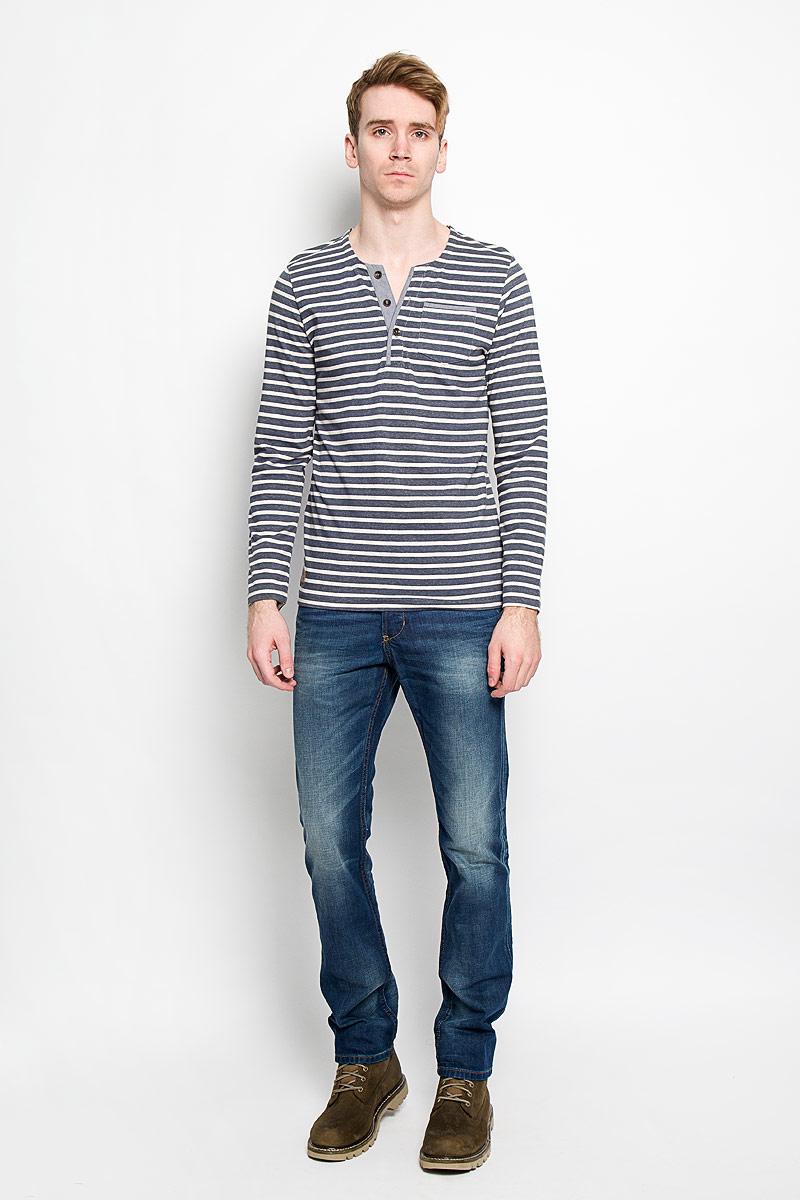 Лонгслив мужской Tom Tailor, цвет: темно-серый, экрю. 1033924.00.10_2706. Размер L (50)