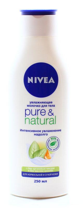NIVEA Молочко для тела Pure & Natural 250 мл10015115Молочко Pure&Natural для сухой и нормальной кожи тела содержит чистое аргановоемасло и органическое масло жожоба. Не содержит парабенов, силиконов илиискусственных красителей. Аргановое масло делает кожу особенно мягкой и увлажненной. Аргановое масло и масложожоба ухаживают и питают сухую кожу. Они восстанавливают естественный баланскожи, благодаря чему она остается ощутимо мягкой в течение всего дня. Молочко для тела Pure&Natural от NIVEA для сухой и нормальной кожи также обладаетприятным тонким ароматом, благодаря которому каждое нанесение становитсянезабываемым. Как это работаетАргановое масло является натуральным источником витамина Е, и, следовательно,обладает непревзойденными антиоксидантными свойствами. Оно является идеальнойзащитой против свободных радикалов в коже, появление которых может бытьобусловлено неблагоприятным состоянием окружающей среды и стрессом. В ходе одногоиз исследований, ученые обнаружили, что после использования эмульсии с Аргановыммаслом в течение всего лишь 3 дней, состояние их сухой шелушащейся кожи значительноулучшилось. Окислительный стресс в клетках кожи также значимо снизился. Масло Жожоба защищает и смягчает кожу. Оно также является идеальным увлажняющимэлементом и богато минералами и натуральными регенерирующими и ухаживающимиингредиентами. Оно делает кожу глубоко увлажненной и бархатисто нежной.