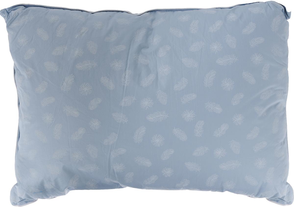 Подушка Легкие сны Нежная, наполнитель: гусиный пух, 50 х 68 см57(15)02-ППодушка Легкие сны Нежная поможет расслабиться, снимет усталость и подарит вам спокойный и здоровый сон. Наполнителем этой подушки является воздушный и легкий гусиный пух первой категории. Чехол изделия выполнен из пуходержащего тика небесно-голубого цвета с рисунком в виде перьев. Тик - это натуральная хлопчатобумажная ткань, отличающаяся высокой плотностью, идеально подходит для пухо-перовых изделий, так как устойчива к проколам и разрывам, а также отличается долговечностью в использовании. По краю подушки выполнена отделка кантом. Это отличный вариант для подарка себе и своим близким и любимым.Рекомендации по уходу:Деликатная стирка при температуре воды до 30°С.Отбеливание, барабанная сушка и глажка запрещены.Разрешается обычная химчистка.