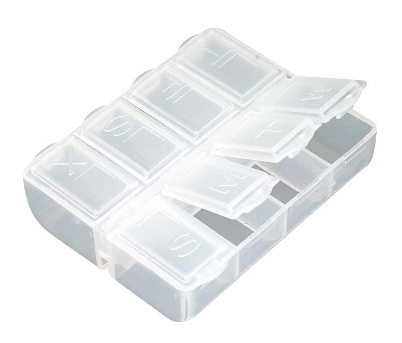 Таблетница Белоснежка, 8 отделений. BO-061BO-061Компактный органайзер для таблеток Белоснежка изготовлен из пластика. Такой органайзер позволит вам хранить необходимые лекарства компактно и удобно.Размер органайзера: 6.5 х 6.5 х 2 см