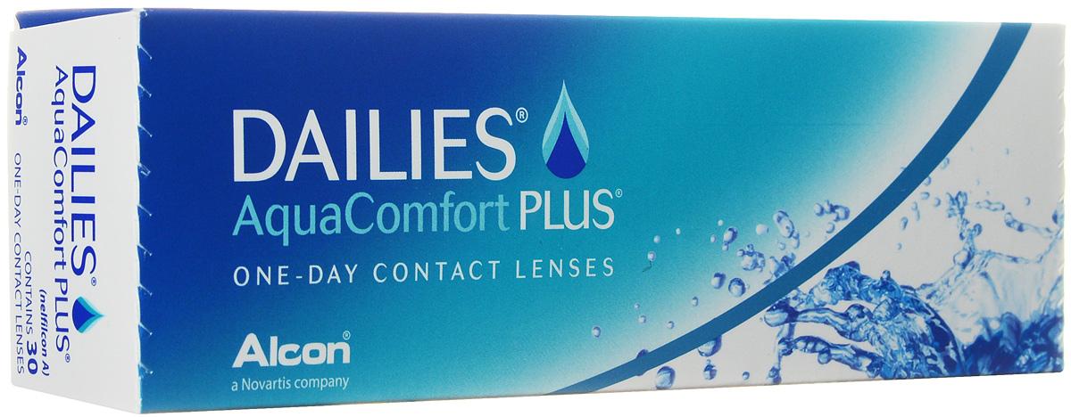 Alcon-CIBA Vision контактные линзы Dailies AquaComfort Plus (30шт / 8.7 / 14.0 / -3.50)12049Dailies AquaComfort Plus - это одни из самых популярных однодневных линз производства компании Ciba Vision. Эти линзы пользуются огромной популярностью во всем мире и являются на сегодняшний день самыми безопасными контактными линзами. Изготавливаются линзы из современного, 100% безопасного материала нелфилкон А. Особенность этого материала в том, что он легко пропускает воздух и хорошо сохраняет влагу. Однодневные контактные линзы Dailies AquaComfort Plus не нуждаются в дополнительном уходе и затратах, каждый день вы надеваете свежую пару линз. Дизайн линзы биосовместимый, что гарантирует безупречный комфорт. Самое главное достоинство Dailies AquaComfort Plus - это их уникальная система увлажнения. Благодаря этой разработке линзы увлажняются тремя различными агентами. Первый компонент, ухаживающий за линзами, находится в растворе, он как бы обволакивает линзу, обеспечивая чрезвычайно комфортное надевание. Второй агент выделяется на протяжении всего дня, он непрерывно смачивает линзы. Третий - увлажняющий агент, выделяется во время моргания, благодаря ему поддерживается постоянный комфорт. Также линзы имеют УФ-фильтр, который будет заботиться о ваших глазах. Dailies AquaComfort Plus одни из лучших линз в своей категории. Всемирно известная компания Ciba Vision, создавая эти контактные линзы, попыталась учесть все потребности пациентов и ей это удалось! Характеристики:Материал: нелфилкон А. Кривизна: 8.7. Оптическая сила: - 3.50. Содержание воды: 69%. Диаметр: 14 мм. Количество линз: 30 шт. Размер упаковки: 15,5 см х 5 см х 3 см. Производитель: США. Товар сертифицирован.Контактные линзы или очки: советы офтальмологов. Статья OZON Гид