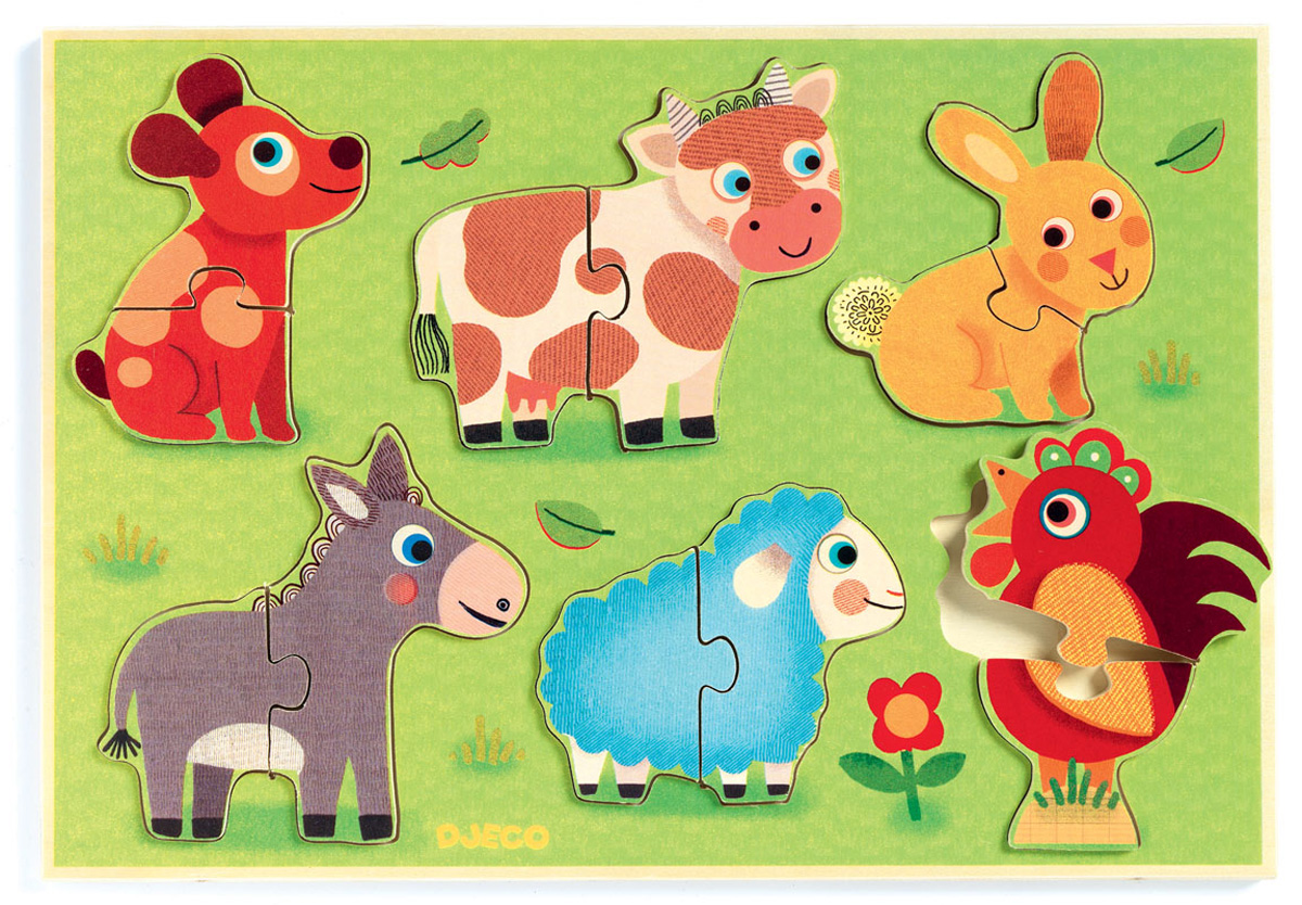 Djeco Пазл для малышей Животные на лугу -