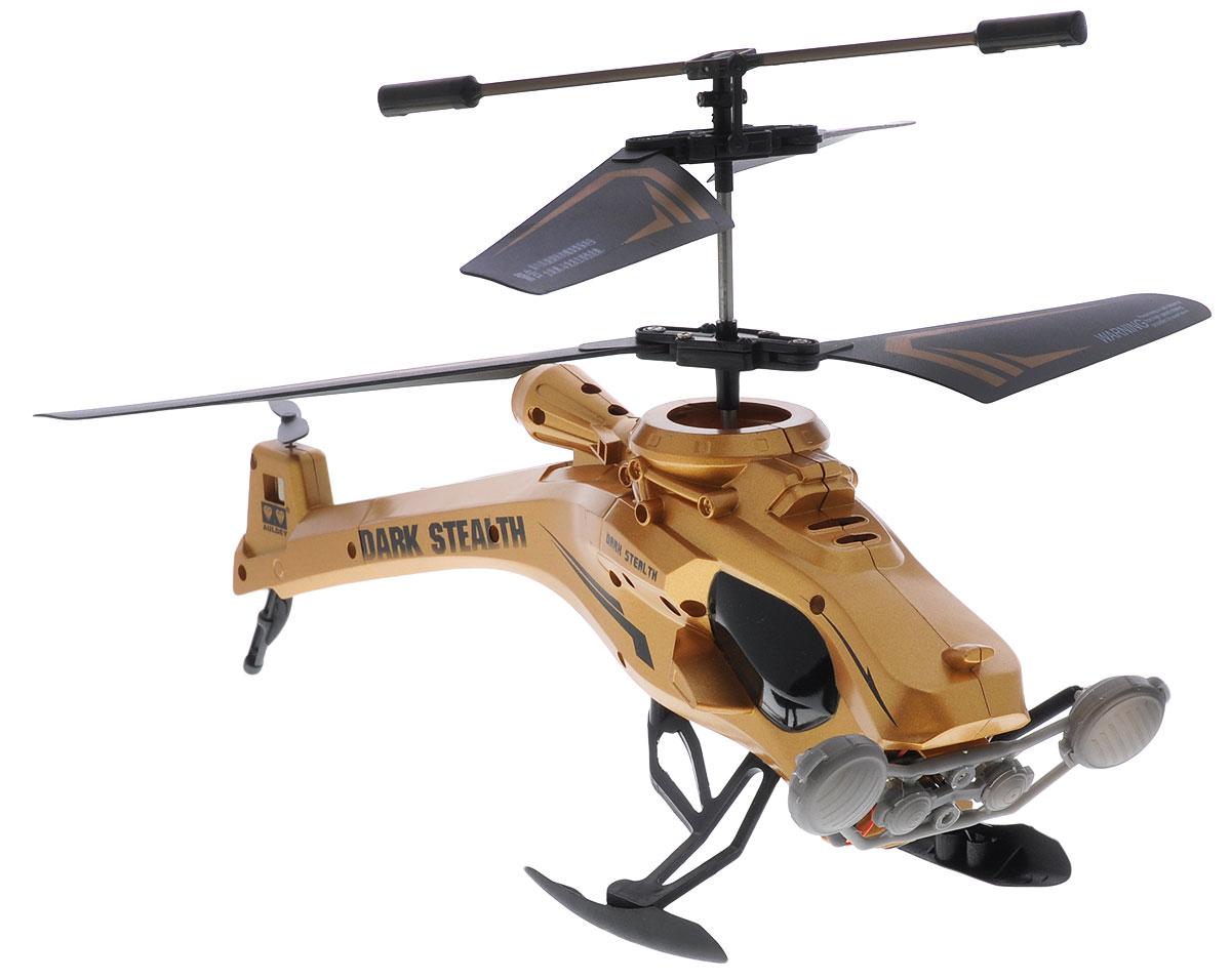 Auldey Вертолет на инфракрасном управлении Dark Stealth цвет золотистый auldey yw858527 f viper на ик управлении с гироскопом с военной ракетной установкой 28см 3 канала управления