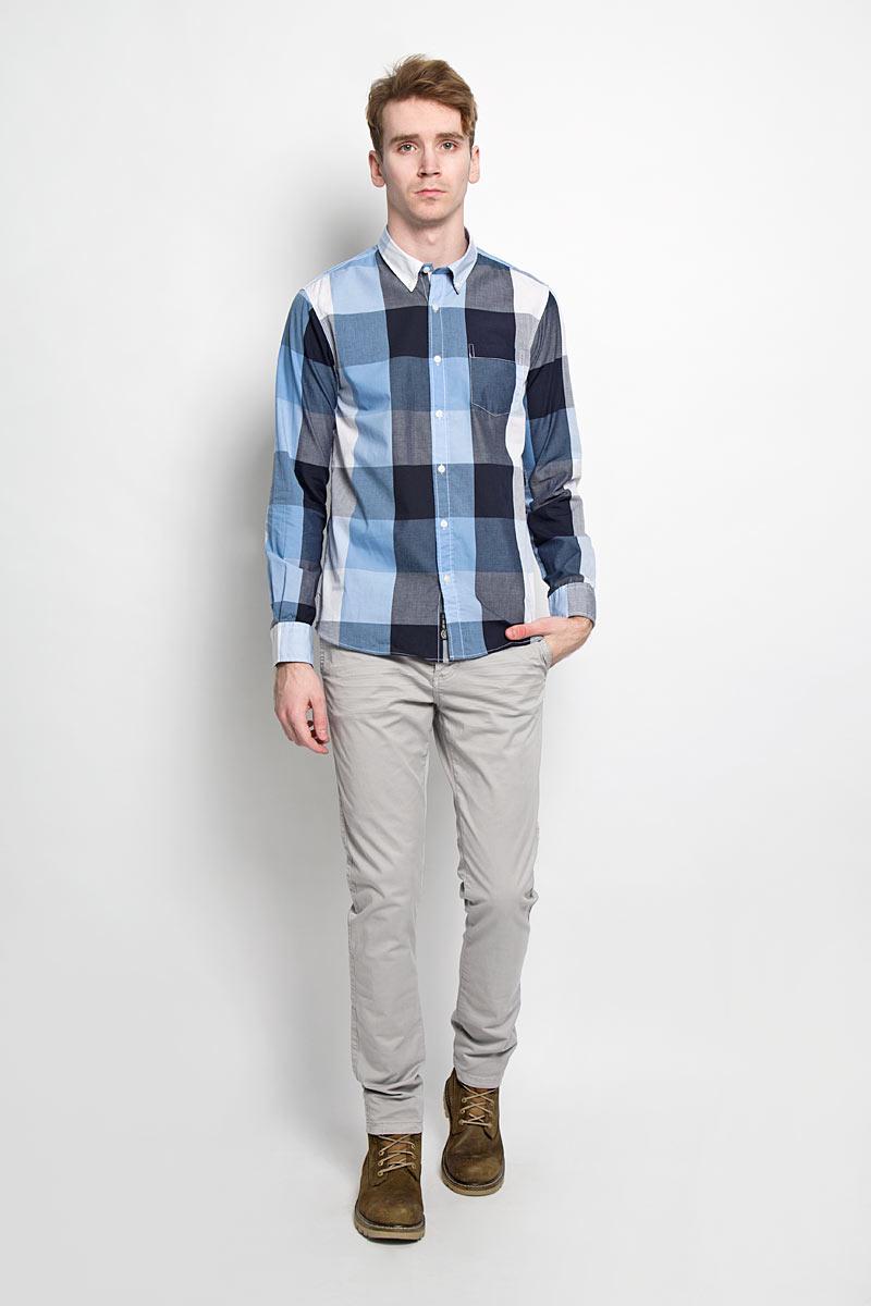 Рубашка мужская Broadway, цвет: белый, синий, серый. 20100028 530. Размер L (50) рубашка мужская f5 цвет белый серый оливковый 150235 7151 размер l 50