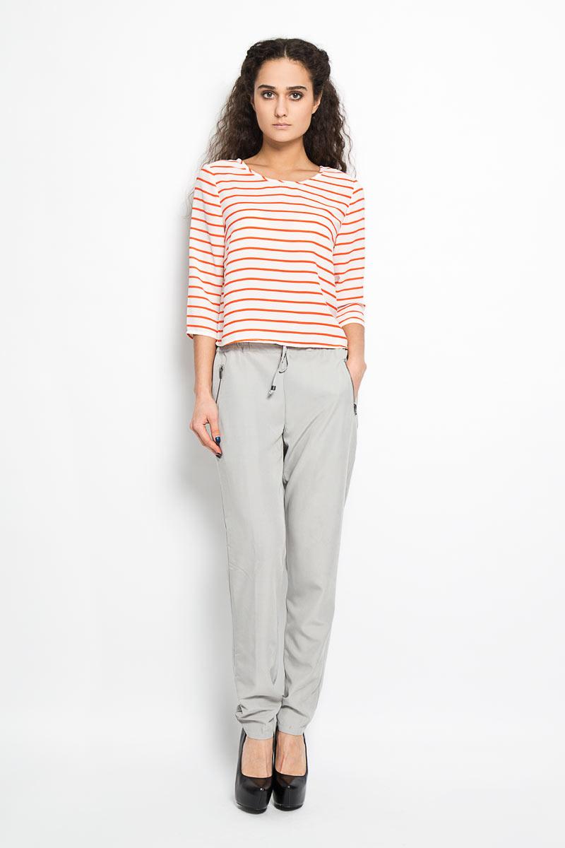 Блузка женская Broadway Dicy, цвет: белый, оранжевый. 10156175 373. Размер L (48)10156175 373Стильная женская блуза Broadway Dicy, выполненная из 100% полиэстера, подчеркнет ваш уникальный стиль и поможет создать оригинальный женственный образ.Блузка укороченного кроя, с рукавами 3/4 и круглым вырезом горловины оформлена принтом в полоску. Спинка оригинального покроя, выполнена с разрезом по середине и асимметричным запахом с завязками. Легкая блуза идеально подойдет для жарких летних дней. Такая блузка будет дарить вам комфорт в течение всего дня и послужит замечательным дополнением к вашему гардеробу.