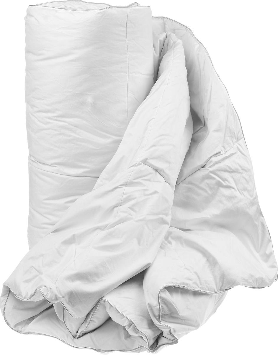 """Теплое двуспальное одеяло Легкие сны """"Камилла"""" поможет расслабиться, снимет усталость и подарит вам спокойный и здоровый сон.  Одеяло наполнено серым гусиным пухом категории """"Экстра"""", оно необычайно легкое, пышное, обладает превосходными теплозащитными свойствами. Кассетное распределение пуха способствует сохранению формы и воздушности изделия.  Чехол одеяла выполнен из прочного пуходержащего тика. Это натуральная хлопчатобумажная ткань, отличающаяся высокой плотностью, идеально подходит для пухо-перовых изделий, так как устойчива к проколам и разрывам, а также отличается долговечностью в использовании.  Белый шелковый кант изящно подчеркивает форму. Цвет изделия дает возможность использовать постельное белье светлых оттенков.  Это теплое и уютное одеяло согреет вас в холодную погоду, оно пропускает воздух и позволяет телу """"дышать"""", это обеспечивает крепкий и здоровый сон. Даже при открытом окне и минусовой температуре вам будет тепло и комфортно. Теплое одеяло позволит прекрасно высыпаться и чувствовать себя бодрым каждое утро.  Изделие придется по вкусу ценителям изысканности и красоты. Под нежным, мягким и теплым одеялом вам приснятся только сказочные сны.  Одеяло можно стирать в стиральной машине."""