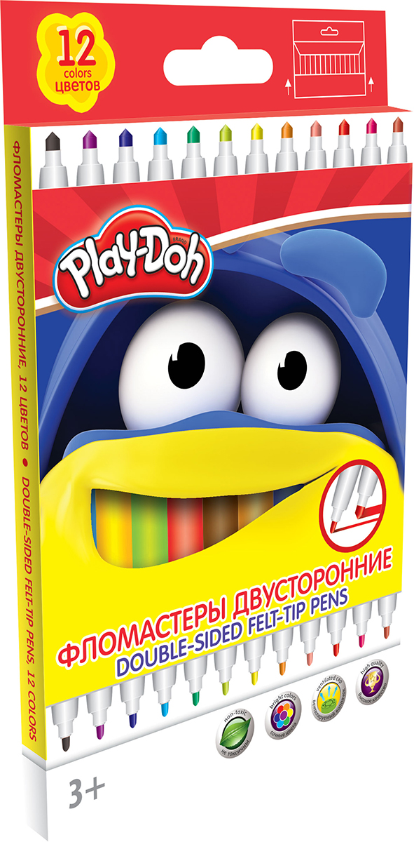 Play-Doh Набор двусторонних фломастеров 12 цветовPDCP-US1-10MB-12Набор двусторонних фломастеров Play-Doh с наконечниками разной толщины, предназначенный специально для рисования и закрашивания, обязательно порадует юных художников и поможет им создать яркие и неповторимые картинки.Корпус фломастеров изготовлен из высококачественного нетоксичного пластика, а вентилируемый колпачок увеличивает срок службы чернил и предотвращает их преждевременное высыхание. А благодаря нейлоновому стержню, увеличенному содержанию чернил и улучшенному пишущему узлу фломастеры прослужат еще дольше!Набор включает в себя 12 фломастеров ярких насыщенных цветов.