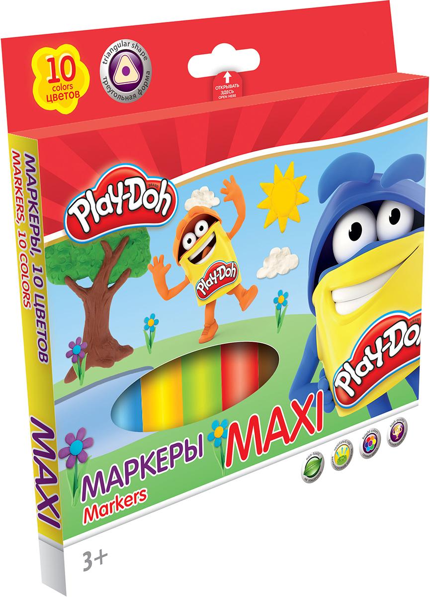 Play-Doh Набор маркеров Maxi 10 цветовPDCP-US1-3MB-10Набор маркеров Play-Doh Maxi, предназначенный специально для рисования и закрашивания, обязательно порадует юных художников и поможет им создать яркие и неповторимые картинки.Корпус фломастеров изготовлен из высококачественного нетоксичного пластика, а вентилируемый колпачок увеличивает срок службы чернил и предотвращает их преждевременное высыхание. Утолщенная трехгранная форма корпуса прививает навык правильно держать пишущий инструмент. А благодаря нейлоновому стержню, увеличенному содержанию чернил и улучшенному пишущему узлу фломастеры прослужат еще дольше! Набор включает в себя 10 маркеров ярких насыщенных цветов.