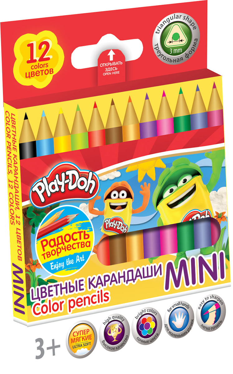 Play-Doh Набор цветных карандашей Mini 12 цветовTRAB-US1-8P-12Цветные карандаши Play-Doh Mini откроют юным художникам новые горизонты для творчества, а также помогут отлично развить мелкую моторику рук, цветовое восприятие, фантазию и воображение. Эргономичная трехгранная форма корпуса прививает навык правильно держать пишущий инструмент и удобна для маленьких детских ручек. Специальное покрытие и лакировка уменьшает скольжение, что делает процесс рисования максимально комфортным. Мягкий ударопрочный грифель не ломается и не крошится при заточке. Набор включает 12 заточенных карандашей ярких насыщенных цветов.