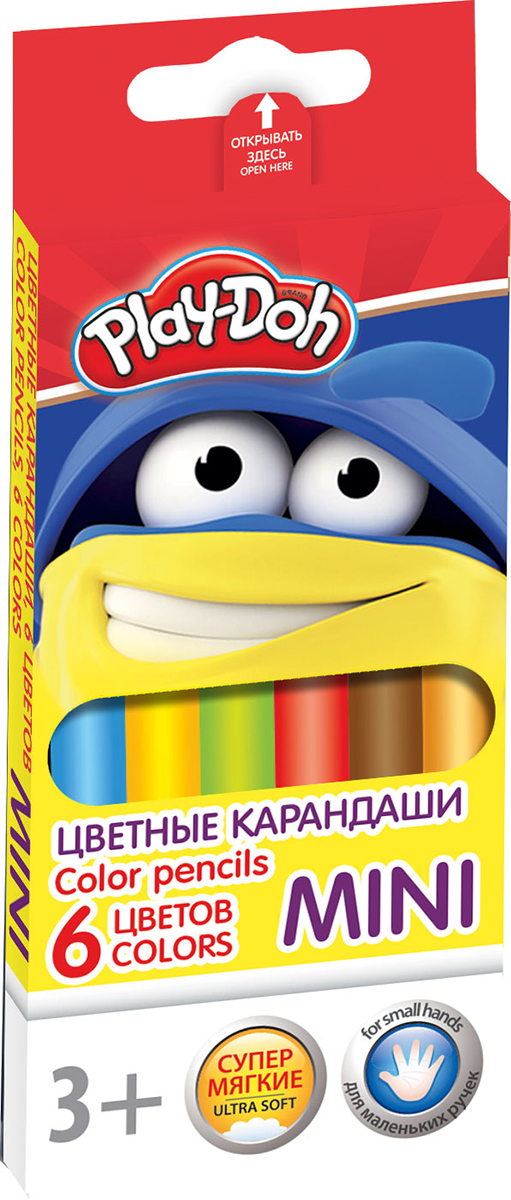Play-Doh Набор цветных карандашей Mini 6 цветовPDCP-US1-3QPM-6Цветные карандаши Play-Doh Mini откроют юным художникам новые горизонты для творчества, а также помогут отлично развить мелкую моторику рук, цветовое восприятие, фантазию и воображение.Эргономичная трехгранная форма корпуса прививает навык правильно держать пишущий инструмент и удобна для маленьких детских ручек. Специальное покрытие и лакировка уменьшает скольжение, что делает процесс рисования максимально комфортным. Мягкий ударопрочный грифель не ломается и не крошится при заточке. Набор включает 6 заточенных карандашей ярких насыщенных цветов.