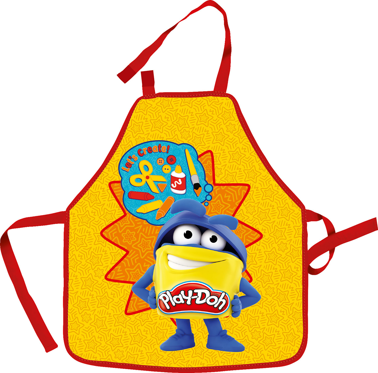 Play-Doh Фартук детский для творческих занятийPDCP-UT1-029MRФартук детский для творческих занятий с нарукавниками Play-Doh изготовлен из водостойкого материала. Его можно зафиксировать на талии и на шее с помощью специальных ремней. Ремень, предназначеный для фиксации на шее, имеет металлические приспособления для регулировки длины. В комплекте предусмотрены нарукавники из плащевой ткани. Они фиксируются резинками сверху и снизу. Размеры: 51 х 44 см (фартук), 11 х 25 см (нарукавники).