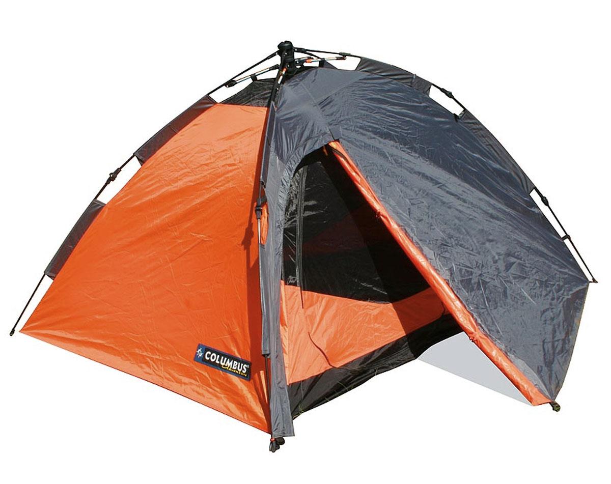 Палатка двухместная Columbus Trek II полуавтоматическая, двухслойная, цвет: серый, оранжевый