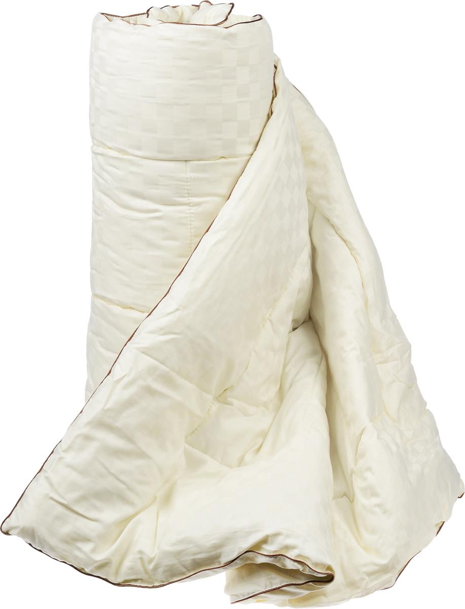 Одеяло теплое Легкие сны Милана, наполнитель: шерсть кашмирской козы, 172 х 225 см172(34)03-КШТеплое одеяло Легкие сны Милана с наполнителем из шерсти кашмирской козы расслабит, снимет усталость и подарит вам спокойный и здоровый сон. Пух горной козы не содержит органических жиров, в нем не заводятся пылевые клещи, вызывающие аллергические реакции. Он очень легкий и обладает отличной теплоемкостью. Одеяла из такого наполнителя имеют широкий диапазон климатической комфортности и благоприятно влияют на самочувствие людей, страдающих заболеваниями опорно-двигательной системы.Шерстяные волокна, получаемые из чесаной шерсти горной козы, имеют полую структуру, придающую изделиям высокую износоустойчивость.Чехол одеяла, выполненный из сатина (100% хлопка), отлично пропускает воздух, создавая эффект сухого тепла.Одеяло простегано и окантовано. Стежка надежно удерживает наполнитель внутри и не позволяет ему скатываться. Плотность наполнителя: 300 г/м2.