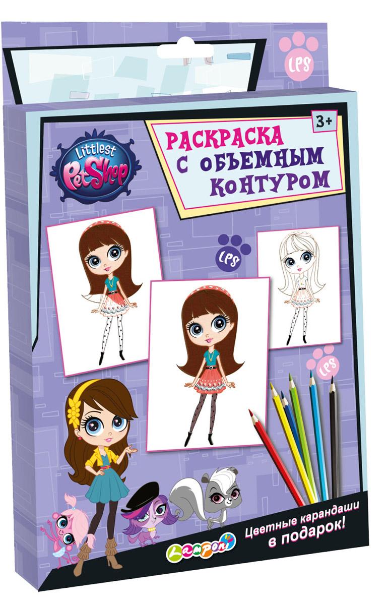 Littlest Pet Shop Раскраска с объемным контуром + цветные карандаши