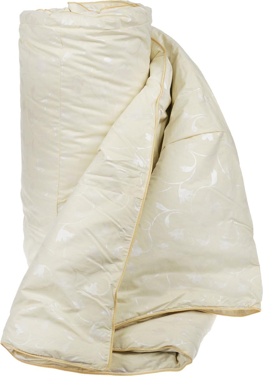 """Теплое одеяло размера евро Легкие сны """"Камелия"""" поможет расслабиться, снимет усталость и подарит вам спокойный и здоровый сон.  Одеяло наполнено серым гусиным пухом первой категории. Кассетное распределение пуха способствует сохранению формы и воздушности изделия. Теплое пуховое одеяло - отличный вариант на зиму и осень.  Чехол одеяла выполнен из пуходержащего тика цвета шампань с растительным рисунком. Тик - это натуральная хлопчатобумажная ткань, отличающаяся высокой плотностью, идеально подходит для пухо-перовых изделий, так как устойчива к проколам и разрывам, а также отличается долговечностью в использовании. Одеяло простегано и отделано по краю шелковым кантом золотистого цвета.  Одеяло можно стирать в стиральной машине.   Уважаемые клиенты!Обращаем ваше внимание на цветовой ассортимент товара. Поставка осуществляется в зависимости от наличия на складе."""