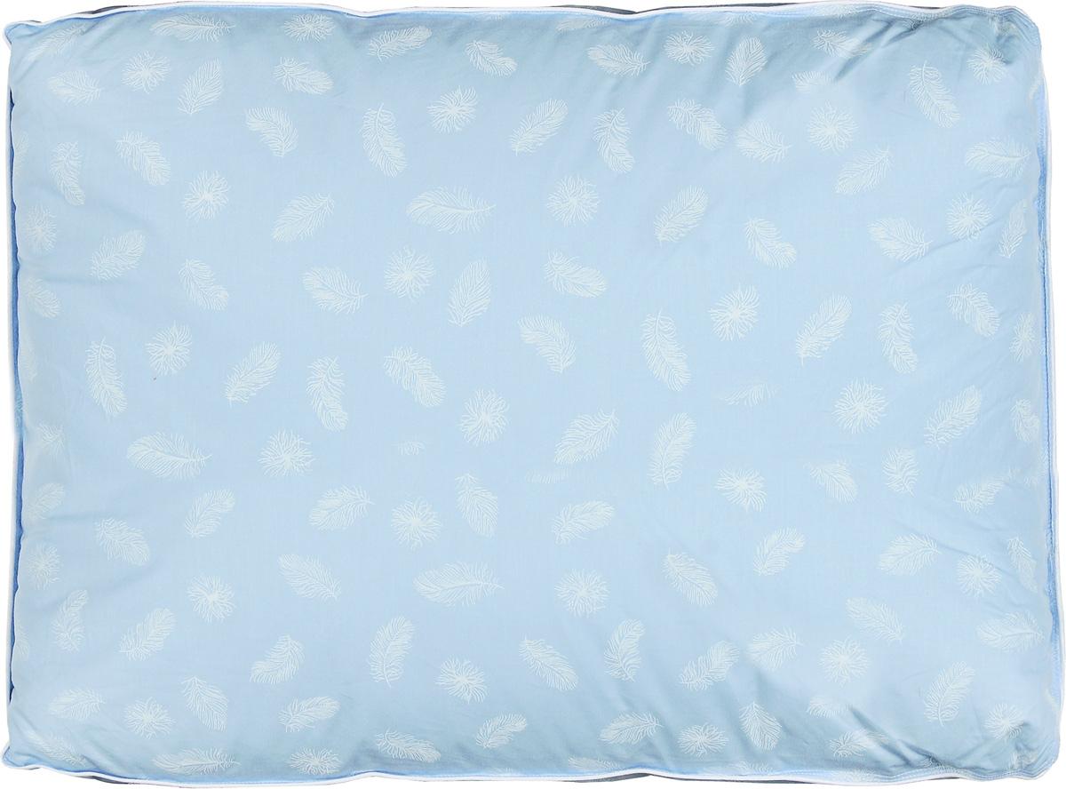 """Подушка Легкие сны """"Донна"""" поможет расслабиться, снимет усталость и подарит вам спокойный и здоровый сон. Наполнителем этой подушки является воздушный и легкий гусиный пух второй категории. Чехол выполнен из гладкой, шелковистой и при этом достаточно прочной ткани тик (100% хлопок). Это отличный вариант для подарка себе и своим близким.Степень поддержки: упругая.Разрешается машинная стирка при температуре 30°C."""