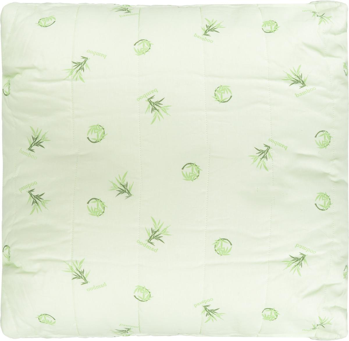 """Подушка Легкие сны """"Бамбук"""" подарит комфорт и уют во  время сна. Чехол выполнен из 100% хлопка. Волокно бамбука - это натуральный материал, добываемый из  стеблей растения. Он обладает способностью быстро  впитывать и испарять влагу, а также антибактериальными  свойствами, что препятствует появлению пылевых клещей и  болезнетворных бактерий.   Изделия с наполнителем из бамбука легко пропускают  воздух, создавая охлаждающий эффект, поэтому им нет  равных в жару. Они отличаются превосходными  дезодорирующими свойствами, мягкие, легкие,  нетребовательны в уходе, гипоаллергенные и подходят  абсолютно всем.  Основные свойства волокна:  - дезодорирующий эффект; - антибактериальные свойства;  - гипоаллергенные свойства.  Подушку можно стирать в стиральной машине.  Степень поддержки: средняя."""