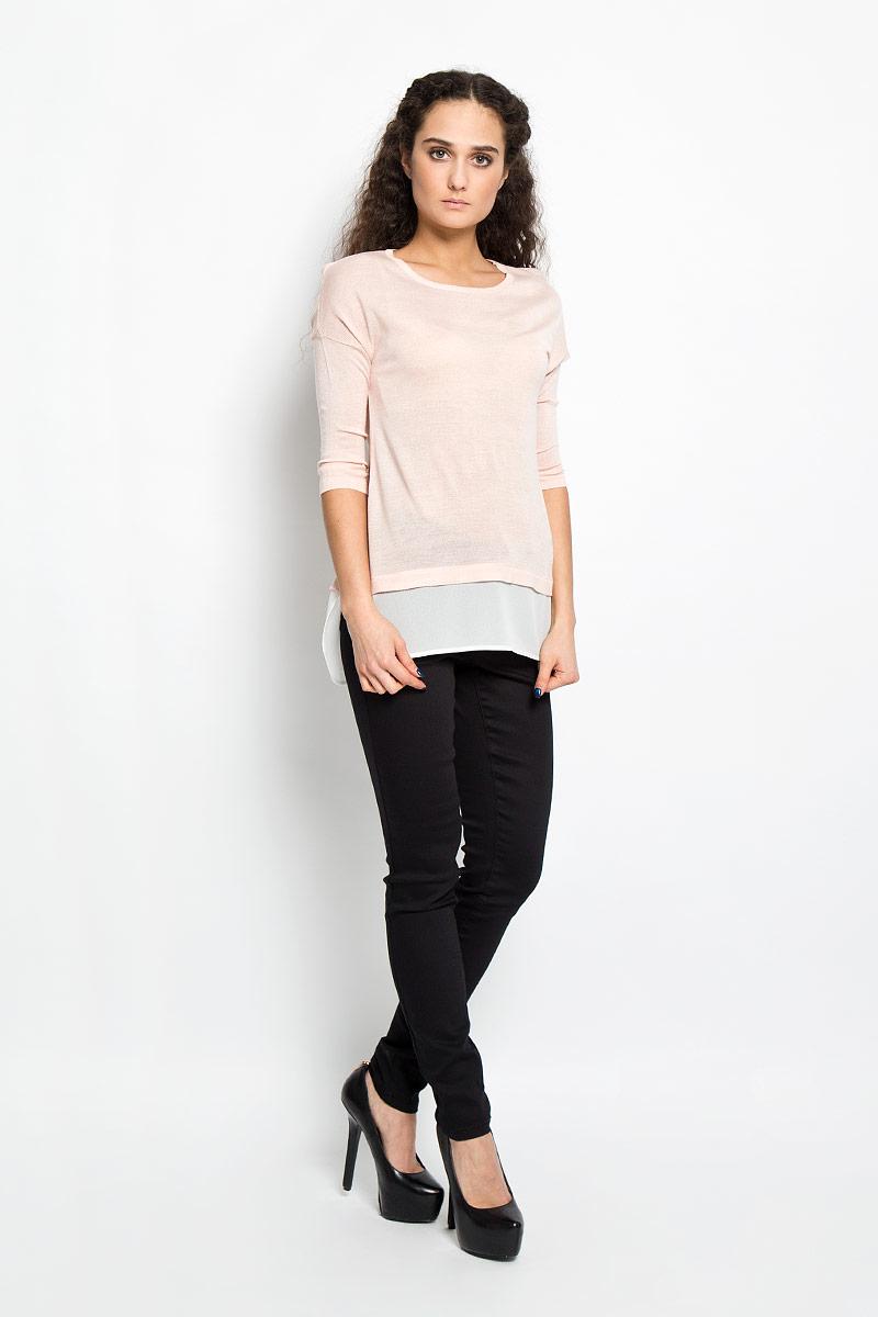Пуловер женский Broadway Edelia, цвет: светло-розовый. 10156164 378. Размер L (48)10156164 378Потрясающий женский пуловер Broadway Edelia свободного кроя выполнен из вискозы с полиакрилом, а низ из 100% полиэстера. Необычайно мягкий и приятный на ощупь, не сковывает движения, обеспечивая наибольший комфорт. Модель с рукавами-кимоно и круглым вырезом горловины. Низ пуловера дополнен полупрозрачной тканью, что создает эффект 2 в 1. Горловина изделия связана резинкой.В таком пуловере вы будете выглядеть эффектно и стильно.