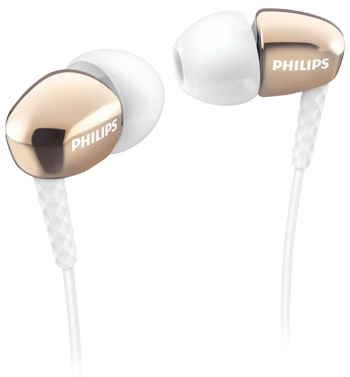 Philips SHE3900GD/51 наушники-вкладышиSHE3900GD/51Стильные и удобные наушники-вкладыши премиум-класса Philips SHE3900 обеспечивают превосходные басы. Качественные излучатели воспроизводят мощный звук. Насадки 3 размеров для овальных трубок гарантируют комфортную посадку и насыщенные басы. Корпус наушников выполнен с применением вакуумной металлизации, что придает им утонченный внешний вид.Маленькие, но эффективные излучатели обеспечивают плотное прилегание и чистый звук с мощными басами. Идеальны для наслаждения любимой музыкой.В комплект входят насадки 3 размеров (маленькие, средние и большие), чтобы вы могли выбрать подходящий вариант.Текстурированный фиксатор кабеля обеспечивает надежное и гибкое соединение между кабелем и штекером.